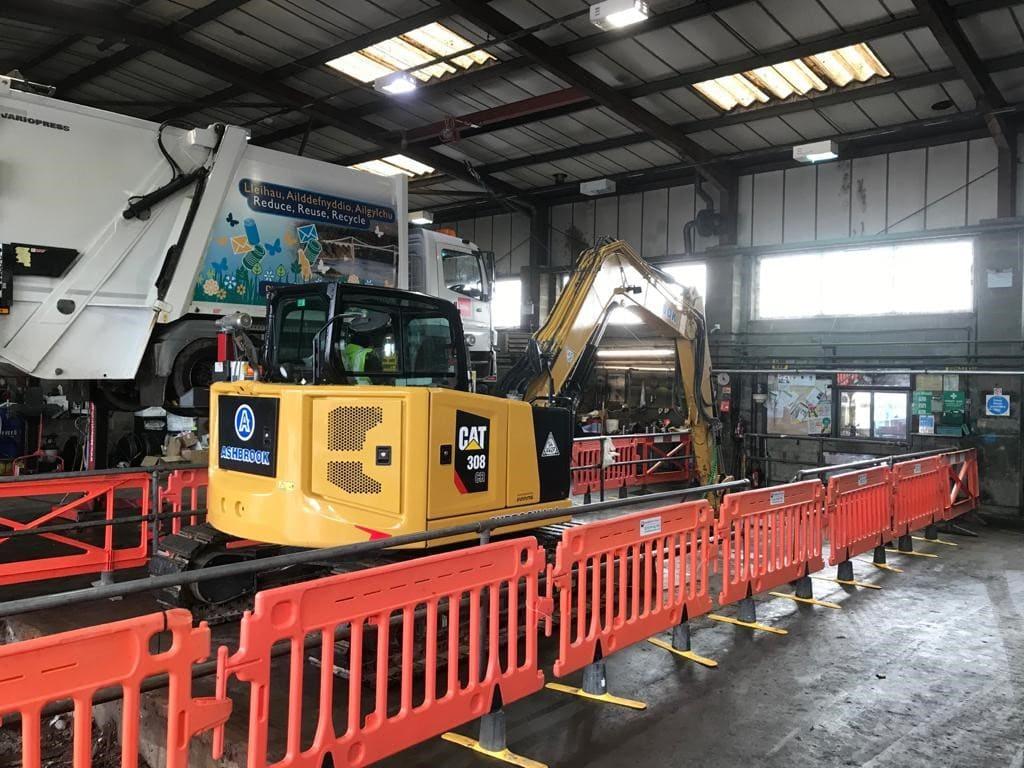 Garage equipment installation project update at Biffa depot