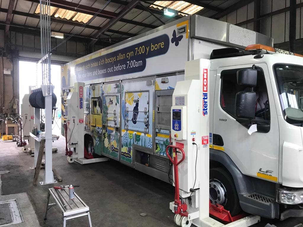 Install of Steril Koni mobile column lifts in commercial garage in North Wales